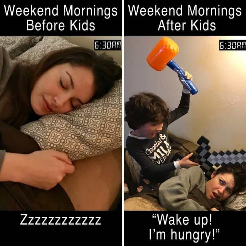parents and kids weekend mornings memes