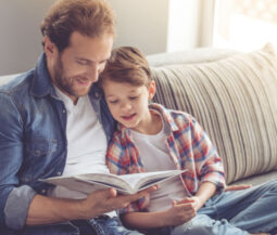 dad reads to his child