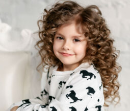cute little girl curly hair